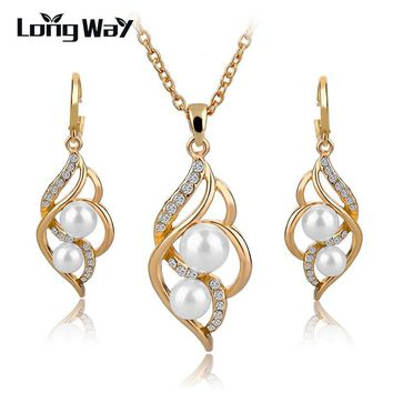 Gold Plated Elegant Fashion Inlaid Crystal Jewelry Sets Imitation Pearl Earrings Necklaces Set For Women Wedding SET140024