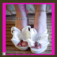 Wedding Flip Flops Wedge Ivory White Jewel Bling Bow Rhinestone Platform Heel Satin Shoes Sandals Flip Flops