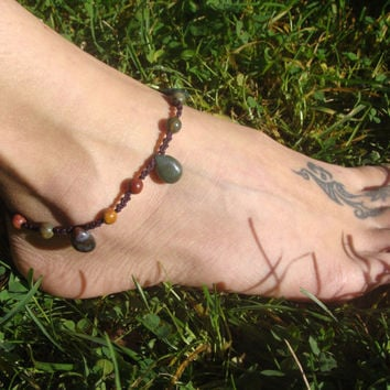 Macrame beaded Anklet, Indian Agate drop anklet, Picasso Jasper ankle bracelet, summer hippie anklet, gift for her, earth jewelry