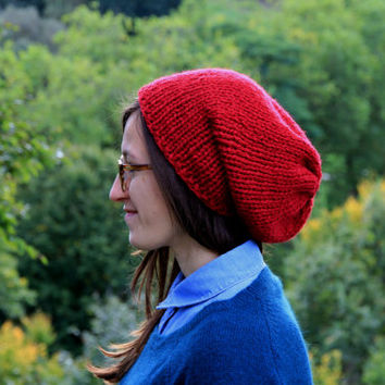 Hand Knit Hat Slouchy Hat Red Slouchy Hat for Women or Men Fall Fashion Winter Fashion Winter Accessories