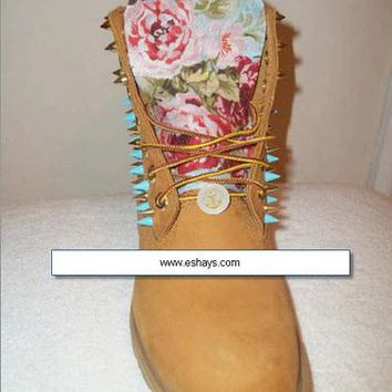 Light Blue Floral Print Blue Gold Spike Timberlands