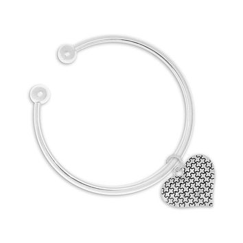 Autism Puzzle Piece Heart Bangle Bracelet