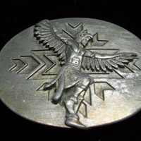 SISKIYOU HEAVY PEWETER INDIAN DANCER-SHOW US THE WAY BELT BUCKLE