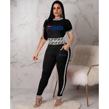FENDI New Popular Women Casual Long Sleeve Round Collar Top Pants Set Two-Piece Red