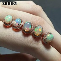 ZHHIRY Natural Fire Opal Earrings Genuine Solid 925 Sterling Silver Gem Earring Women Stone Fine Jewelry January Birthstone