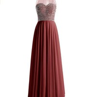 US Women Long Prom Dress Asymmetric Bridesmaid Dress Beaded Organza Gown