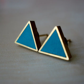 deep green teal small brass triangle stud earrings