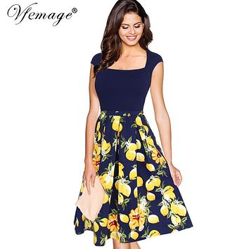 Vfemage Women Elegant Contrast Floral Print Patchwork Vintage Slim Tunic Summer Casual Work Party Swing Skater A-line Dress 7346