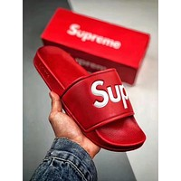 Supreme Women Men Popular Design Fashion Monogram Couples Sandal Slipper Shoes Red I