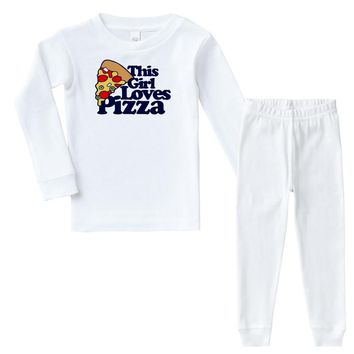 this girl loves pizza Infant long sleeve pajama set