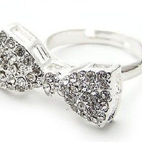 Bow ring Adjustable silver Ring novelty ring promise ring cocktail ring statement ring white crystal