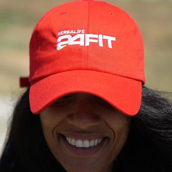 Herbalife 24 FIT polo dad hat, red w/white