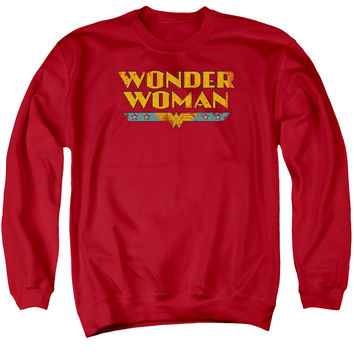 DC/WONDER WOMAN LOGO - ADULT CREWNECK SWEATSHIRT - RED - MD