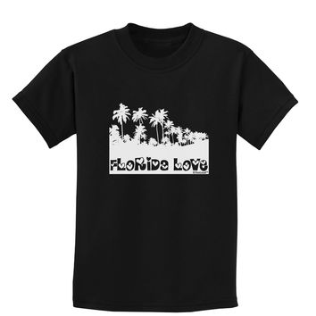 Florida Love - Palm Trees Cutout Design Childrens Dark T-Shirt by TooLoud