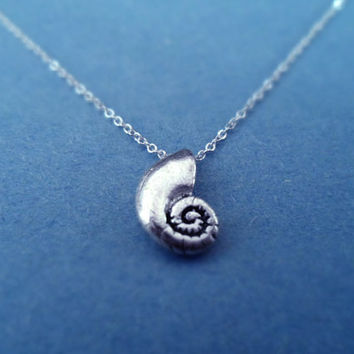 The Little Mermaid, Ariel's Voice Shell, Vintage Pendant, Sterling Silver Chain, Necklace