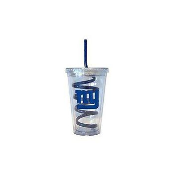 NFL New York NY Giants 16 oz Double Wall Acrylic Tumbler with Swirl Straw