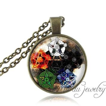 Elements pentagram wicca pendant necklace Wiccan Jewelry Occult neckless charm glass cabochon dome necklaces vintage jewelry