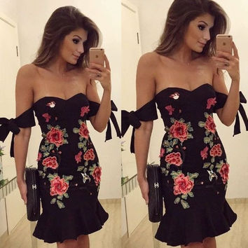 Embroidered Off Shoulder Tied Sleeve Party Dress