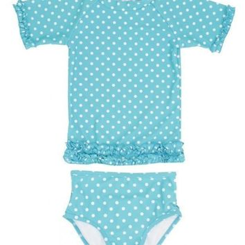 Outlet Rugged Butts Aqua Polka Dot Ruffled Rash Guard Bikini
