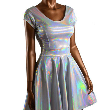 Silvery White Flashbulb Holographic Scoop Neck Cap Sleeve Fit and Flare Skater Skate Dress Rave Clubwear EDM -E7720