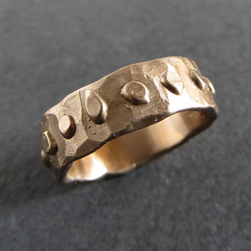 Rough medieval style bronze band // rustic ring / rough ring / designer ring / ancient ring / medieval ring / viking ring / artisan jewelry