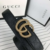 GUCCI classic retro double G embossed men and women casual business smooth buckle pants belt gold
