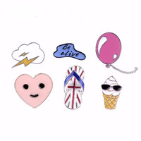 Fun British Flag Slipper, Heart, Balloon, Be Alive, Pink Heart, Ice Cream Cone Six Piece Pin Set.
