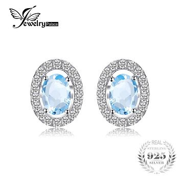 JewelryPalace Oval 1.1ct Natural Sky Blue Topaz 925 Sterling Silver Stud Earrings 2016 Fashion Silver Jewelry Earrings For Women