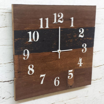 Reclaimed Barn Wood Clock Recycled Like Pallet Clock Barnwood Rustic Primitive Shabby Cottage Chic Handmade Made in USA Black and White