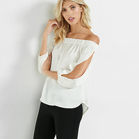 off the shoulder open sleeve blouse