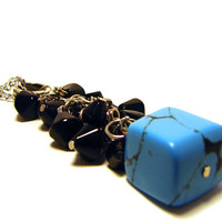Turquoise & Black Glass Bead Necklace on Long Silver by Stoic