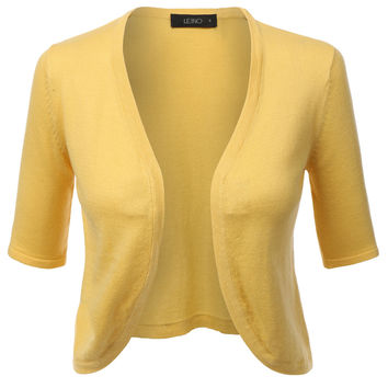 LE3NO Womens Soft Knit Short Sleeve Open Front Bolero Cardigan