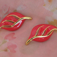 Vintage Costume Red Enamel Earrings, Mother's Day Gift, Special Occasion Gift