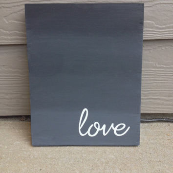 Wood Love Sign Grey Ombre Gradient