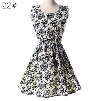New Fashion 2015 summer Women casual Bohemian floral leopard sleeveless vest printed beach chiffon dress SPD022