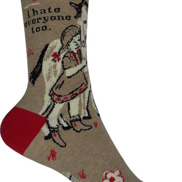 I Hate Everyone Too Crew Socks in Brown and Red