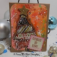 Celebrate the Season Handmade Christmas Card . Just Listed .
