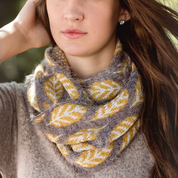 'Leave' A Mark Infinity Scarf-Mustard