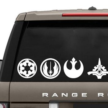 JJRUI Star Wars Logos Stick Figure Family Vinyl Decal Sticker Car Window Wall Die Cut Member Wall Stickers