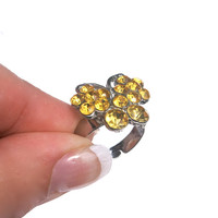 10 dollar SALE!!...Butterfly Ring Yellow Rhinestone Vintage Silver Tone Adjustable Costume Ring