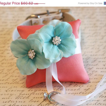 Coral and Aqua Ring Pillow, Dog Ring Bearer, Pillow attach to white Leather Collar, Aqua and coral wedding, beach wedding, dog lovers