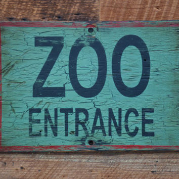 ZOO ENTRANCE sign made from reclaimed plywood by KingstonCreations