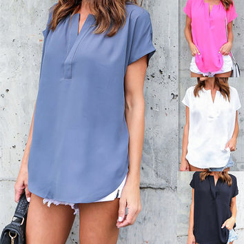 Chiffon Casual Short Sleeve V-neck Women's Fashion Tops [10597785223]