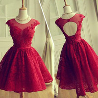 red Prom Dress,short Prom Dress,open back Prom Dress,homecoming dress,party dress for girls,PD202