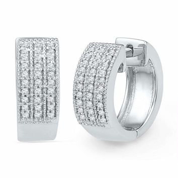 10kt White Gold Women's Round Diamond Huggie Hoop Earrings 1-4 Cttw - FREE Shipping (USA/CAN)