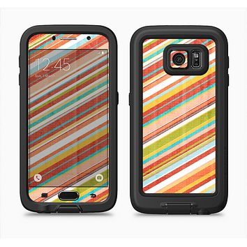 The Vintage Slanted Color Stripes Full Body Samsung Galaxy S6 LifeProof Fre Case Skin Kit