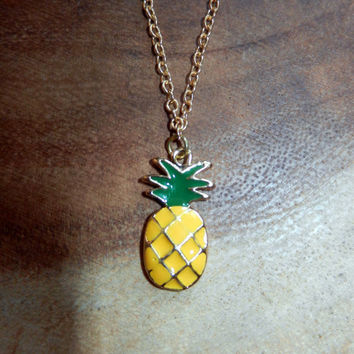 Pineapple Necklace, Yellow Pineapple Necklace, Charm Necklace, Summer Necklace, Beach Necklace, Hawaii Necklace