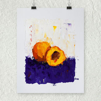 Peach Painting, Impasto Painting, Palette Knife Painting, Fruit Still Life Painting, Art on Paper, Rustic Painting, Blue and Yellow Decor