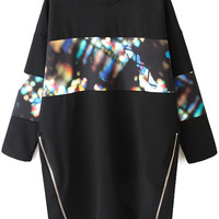 Print Splicing Long Sleeves Sweatshirt