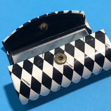 Vintage LANCOME Lipstick Case with Mirror / MOD Black & White Geomteric Diamond Pattern / Retro Cosmetics Bags / 80s Vintage Makeup Compact